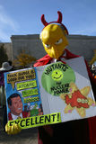 Mr. Burns at the Rally to Restore Sanity. WASHINGTON, DC - OCT 30: A man dressed as the Simpsons' Mr. Burns holds a sign at the Stewart/Colbert Rally to Restore stock photography