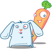 Mr. Carrot and Rabbit starring Royalty Free Stock Photo