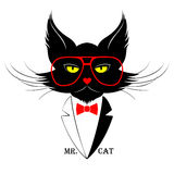 Mr. Cat. Vector illustration of black cat dressed in dinner jacket Stock Photography