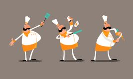 Mr Chef Orange. Hello, This is Mr Chef Orange! He is frying an egg and cutting a carrot. He is happy to help introduce your restaurant business. This .EPS file Royalty Free Stock Photos