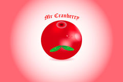 Mr Cranberries. Realistic cranberries with green leaves Royalty Free Stock Image