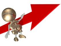 Mr Dollar balances on an arrow Stock Photo