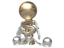 Mr dollar is chained by circuits of crisis. Mr dollar in shackles, isolated on a white background Stock Photo