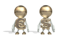 Mr dollar and euro. Isolated 3D character on a white background Royalty Free Stock Images