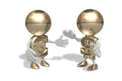 Mr dollar and euro. In a dialog pose Royalty Free Stock Photography