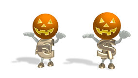 Mr Dollar and Euro in Helloween masks. On a white background Stock Photography