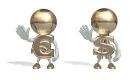 Mr dollar and euro at a stop pose. Isolated 3D character on a white background Stock Photos