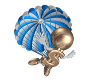 Mr dollar jumps with a parachute. Isolated on a white Royalty Free Stock Photos