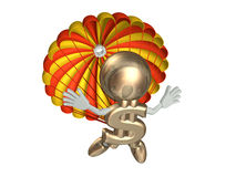 Mr dollar jumps with a parachute. Isolated on a white Stock Photos