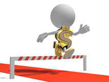 Mr dollar overcomes obstacles. Isolated on a white background Royalty Free Stock Images