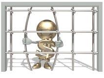 Mr dollar in prison. Mr. of dollar have imprisoned Royalty Free Stock Photo