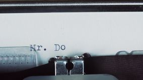 Mr Donald - Typed on a old vintage typewriter.  stock footage