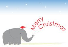 Mr Elephant's Christmas Cheer. Mr Elephant is a cheery chap. He wishes you a Merry Christmas Stock Photography