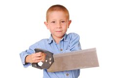 Mr. Fixit 6. Young boy with a saw stock photos