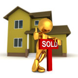 Mr Goldman - Real Estate. Three dimensional render of Mr Goldman standing over a SOLD sign in front of a house Stock Image