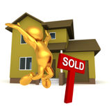 Mr Goldman - Real Estate. Three dimensional render of Mr Goldman jumping for joy next to a SOLD sign in front of a house Stock Photos