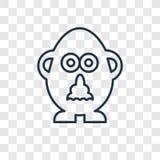 Mr gruli zabawki pojęcia wektorowa liniowa ikona odizolowywająca na przejrzystym royalty ilustracja
