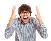 Mr. Really Happy Guy. Happy screaming latin teenager in black glasses. Isolated on white background, mask included Stock Photo