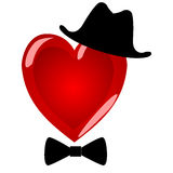 Mr heart. Character gentleman in a beautiful hat with a bow tie. Stock Photo