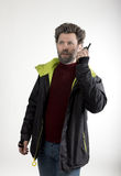Mr. IceMan aggression, he talking on walkie-talkie Stock Images