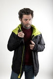 Mr. IceMan aggression, he talking on walkie-talkie Stock Photography