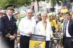 Mr Jean Yves Le DREAN Defence Minister and Nathalie Appéré Mayor of Rennes Tour de France 2015 Royalty Free Stock Image