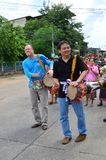 Mr.Jon Eddy Abdulla. UBONRATCHATANI,THAILAND - MAY 19 : President Dtac Company Thailand Mr.Jon Eddy Abdulla and Mr.Prates Tunkuranan hit the drum and walk to The Stock Images