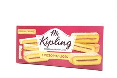 Mr Kipling Cake Slices in a Recyclable Cardboard Box. Largs, SCotland, UK - April 25, 2018:                                       Mr Kipling Cake Slices in a Stock Photos