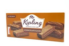 Mr Kipling Cake Slices in a Recyclable Cardboard Box. Largs, SCotland, UK - April 25, 2018:                                       Mr Kipling Cake Slices in a Royalty Free Stock Image