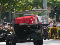 Mr Lee Kuan Yew   (16.09.1923 - 23.03.2015). Mr Lee Kuan Yew  casket travels from Istana to Parliament House by means of a gun carriage Stock Photo