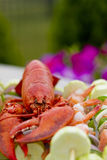Mr Lobster and shrimp skewers. Lobster complimented with vegetable shrimp kebabs, outside Royalty Free Stock Photos