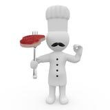 Mr. Mądrze facet jako francuski kucharz z stkiem Zdjęcia Stock