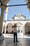 Mr mahya. June 9, 2016 , yeni valide mosque , uskudar Ä°stanbul turkey , after an hour and a half of work, the team of Mr. Yildiz put the Mahya between the royalty free stock image