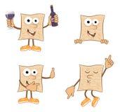 Mr Matzah. Cute set of 4 cartoon matzah. Eps10 vector illustration