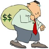 Mr. Moneybags. This illustration depicts a man carrying a large bag with dollar signs Royalty Free Stock Photos