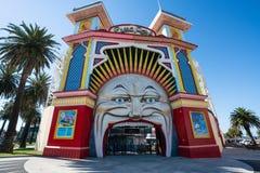 1912 Mr Moon face entry of Luna Park an historic amusement park in St Kilda Melbourne Victoria Australia. 4th January 2019, Melbourne Australia : 1912 Mr Moon stock images