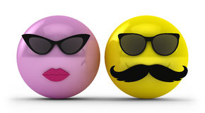 Mr and Mrs. Cool Guy and Girl wearing Glasses and Mustache Stock Image