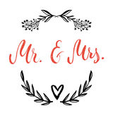 Mr & Mrs. And, ampersand symbol. Bride and groom. wedding words. Royalty Free Stock Image