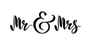 Mr and Mrs. Brush pen lettering. Wedding words. Bride and groom. Black text on white background. Vector. Illustration. Design for invitation, banner, poster Stock Photo