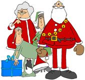 Mr. & Mrs. Claus with two elves. Illustration of Santa and Mrs Claus standing by a male and female elf Royalty Free Stock Images