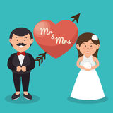mr and mrs couple heart wedding design graphic Stock Photo