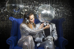 Mr and mrs discoball Royalty Free Stock Photos