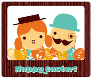 Mr. and Mrs. - Easter eggs. Easter greeting card layout with a happy couple of easter eggs characters and many other small easter eggs on the bottom. All of it Stock Images