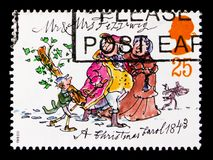 Mr and Mrs Fezziwig, Christmas 1993 - Anniversary of Publication of `A Christmas Carol` serie, circa 1993. MOSCOW, RUSSIA - OCTOBER 3, 2017: A stamp printed in stock photos