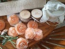 Mr & Mrs. Flowers wood wedding decorations royalty free stock photo