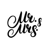 Mr and Mrs hand written lettering. Stock Image
