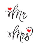 Mr and Mrs lovely designs. Mr and Mrs wedding, clean version Royalty Free Stock Photos
