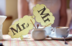 Mr & Mrs plate. On the table stock photography
