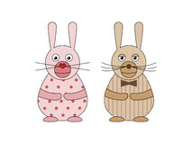 Mr. and Mrs. rabbits Stock Photography