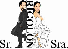 Mr & Mrs Rigolon. Mr & Mrs Smith Other Version in cartoon Stock Photos